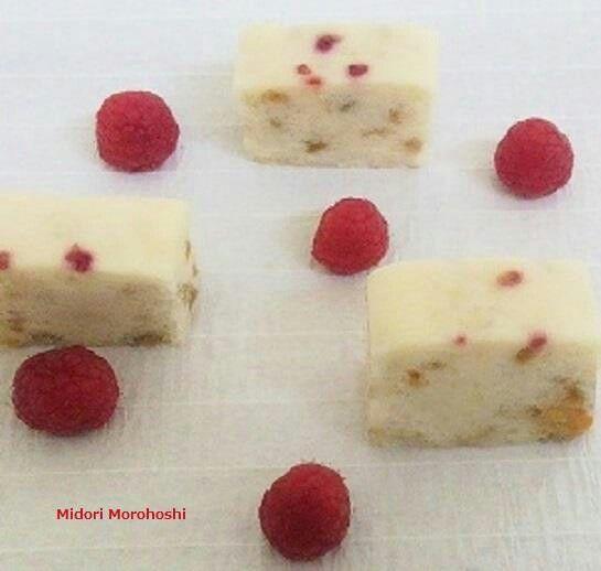 和菓子『梅とラズベリーの浮島~Ukishima』Japanese steamed spongecake flavored with sweet plum and raspberry.✳︎styling/ photo/ sweets :Midori Morohoshi(http://ameblo.jp/greenonthetable/imagelist.html)
