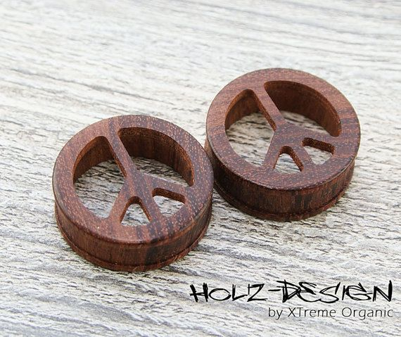 10  70mm Pair wooden Peace Flesh Tunnel ear by HolzDesignGermany