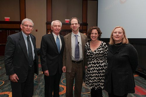 Medicaid expansion plenary speakers stand with @Families USA's Ron Pollack and KY Gov. Steve Beshear. #HA2014