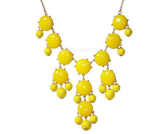 Bubble Statement Necklace, Chunky Bubble Necklace, Bubble Yellow Necklace (Fn0508-Yellow). $16.00, via Etsy.
