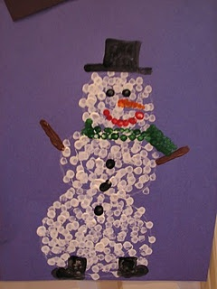 Snowman Q-Tip painting...turned out adorable. My kids used paper scraps to make hat, scarf, eyes, etc.