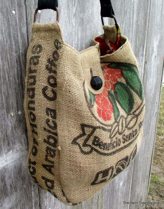 Burlap Shoulder Bag or Cross Body Bag from Recycled Coffee Bean Sack and New Leather OOAK by The Bent Tree Gallery  I used the brightest and
