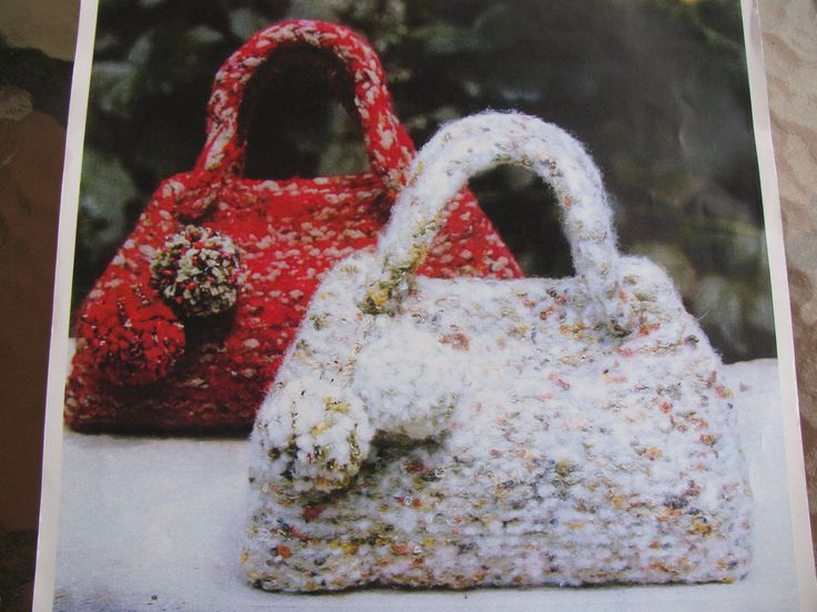 Knit & Felt Handbag Knitting Pattern PDF Instant Download Shabby Chic Knitted Handbag by TassieVintage on Etsy