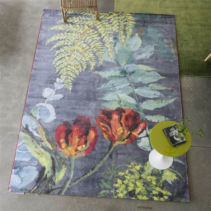 Tulipani Graphite Rugs By The Leading Uk Furnishing Brand Designers Guild Features A Bloom Of Tulips