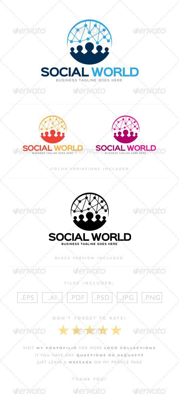 Social World Logo Design Template Vector #logotype Download it here: http://graphicriver.net/item/social-world-logo/8465429?s_rank=10?ref=nexion