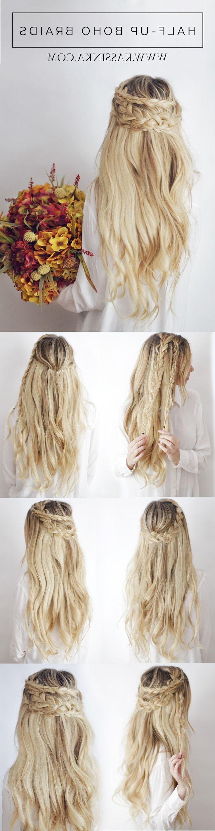Pretty half-up boho hairstyle