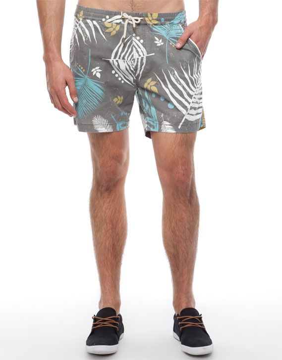 Printed, cotton boardshorts. The Academy Brand Palm Springs Shorts have an elasticised waistband, and a contrast drawstring fastening. The printed, cotton shorts feature twin pockets on the front and the back, and have a regular fit.