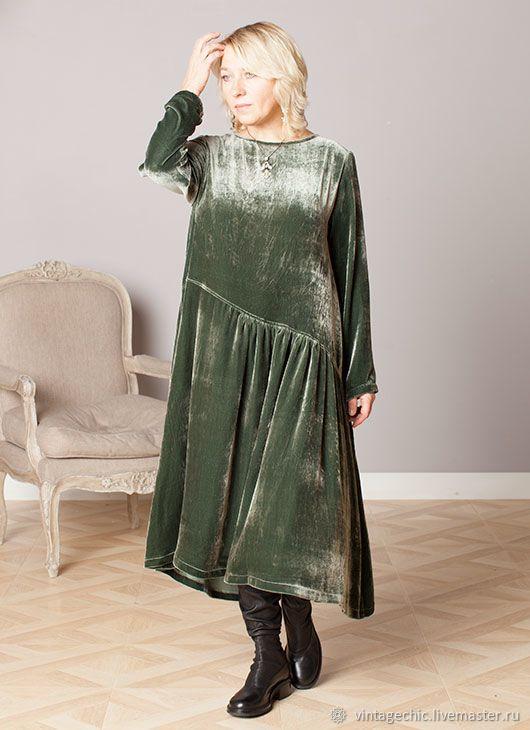 Купить Платье асимметричное из зеленого панбархата art.187b в интернет магазине на Ярмарке Мастеров