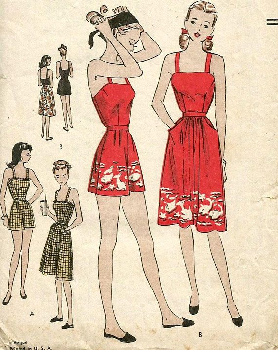Vintage 40s Vogue 3031 Junior Miss Pinup Playsuit and Skirt Sewing Pattern  Size 13 Bust 31.5