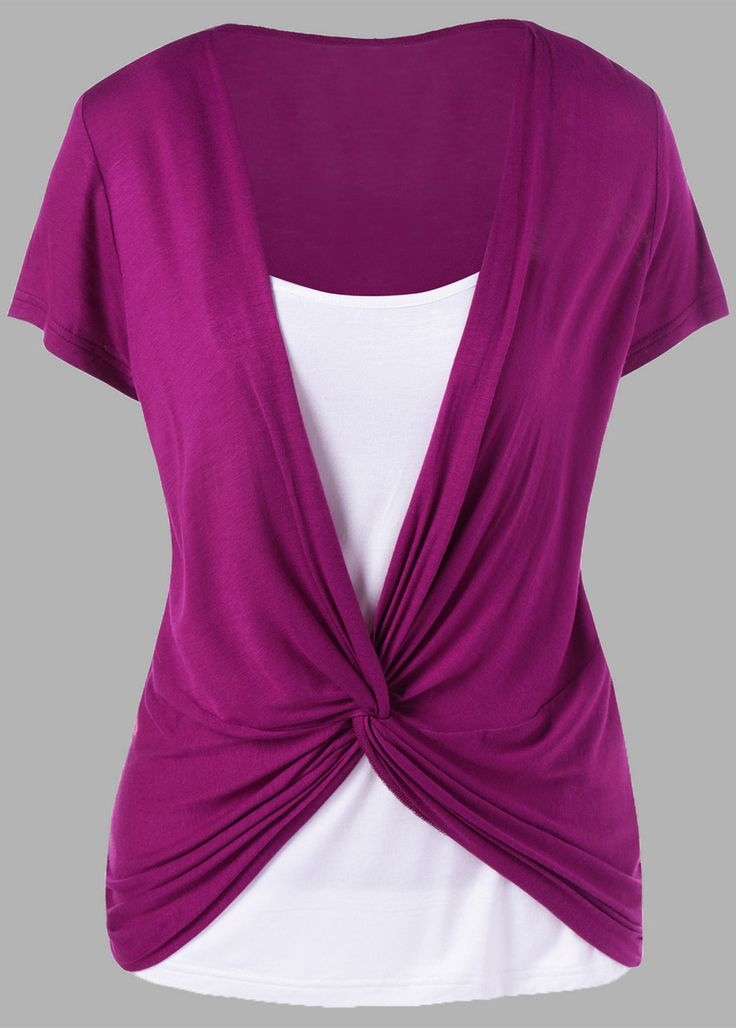 $13.70 Colorblock Panel Twist T-Shirt - Purplish Red