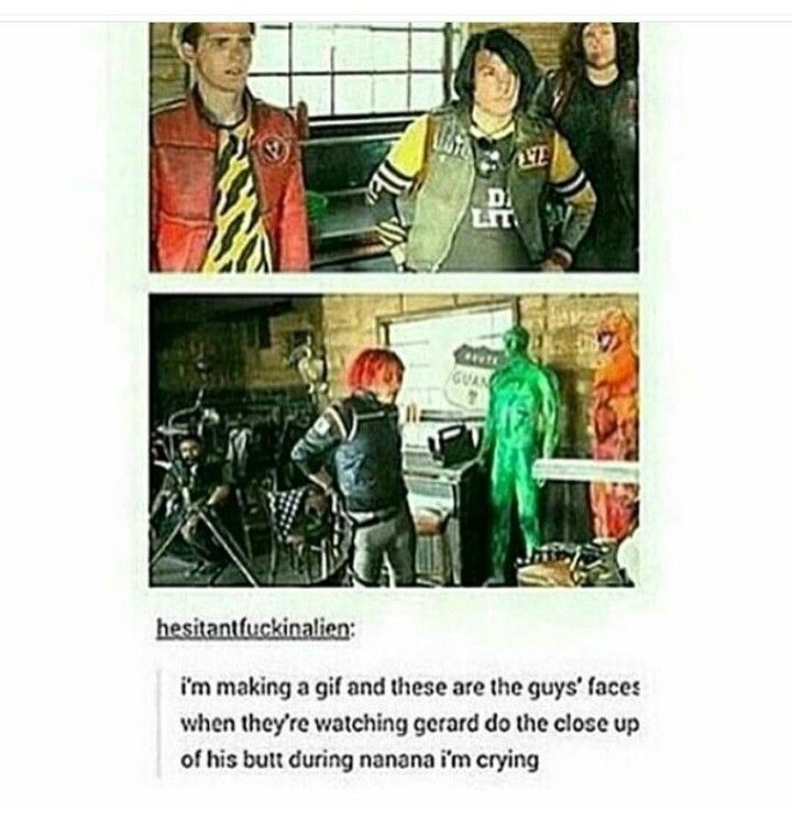 mikey:*scarred for life* ray:*uncomfortable* frank:*checkin out dat ass*