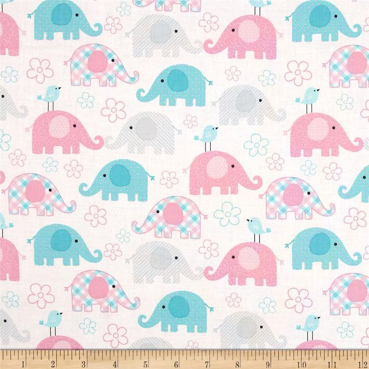 Child's Play Elephants Pastel from @fabricdotcom  This cotton print fabric is perfect for quilting, apparel and home decor accents. Colors include blue, pink, grey and white.