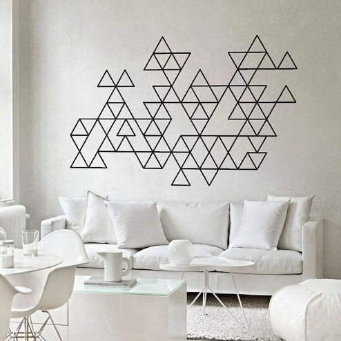 Triangle Pattern Wall Sticker For Nursery Triangle Children Wall Decal For Kids Room DIY Decorating Decor P7(China (Mainland))