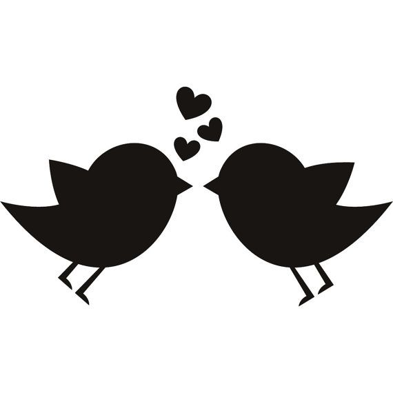 Birds in love vinyl decal for DIY craft project by deannebarreto, $11.00
