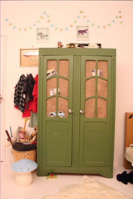Scallop bunting (nursery idea), cute mushroom stool and lovely green armoire for clothes and storage