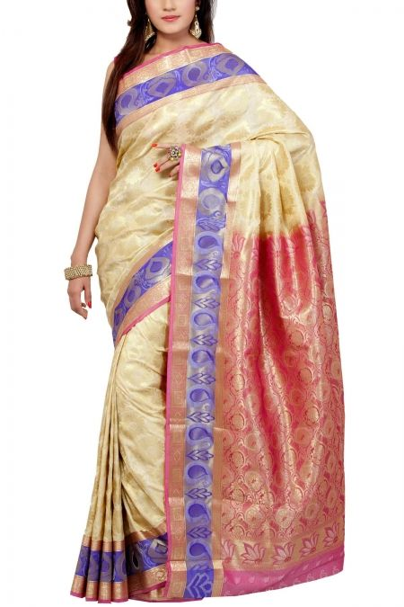 Cream Pink Brocade Art Silk Saree