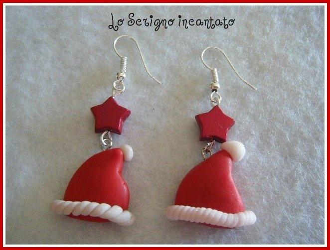 Orecchini fimo Natale CAPPELLINI, by Lo Scrigno incantato, 4,00 € su misshobby.com