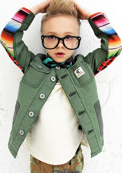 Amazing jacket, love the military khaki vibe with the bright rainbow contrast panel (Comechatto & Closet)