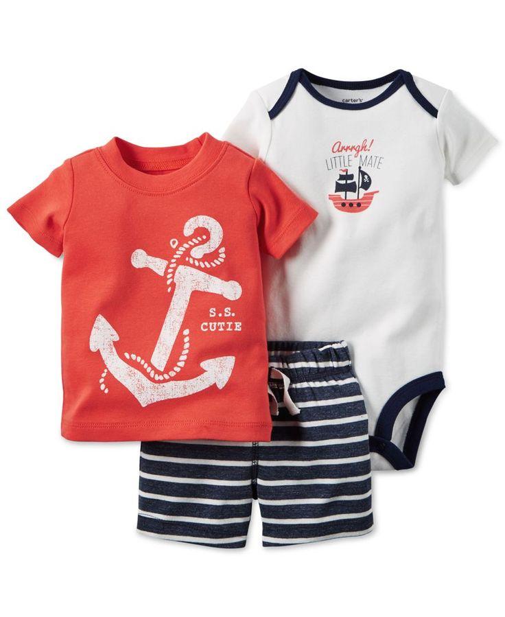Carter's Baby Boys' 3-Piece Anchor T-Shirt, Bodysuit & Stripe Short Set