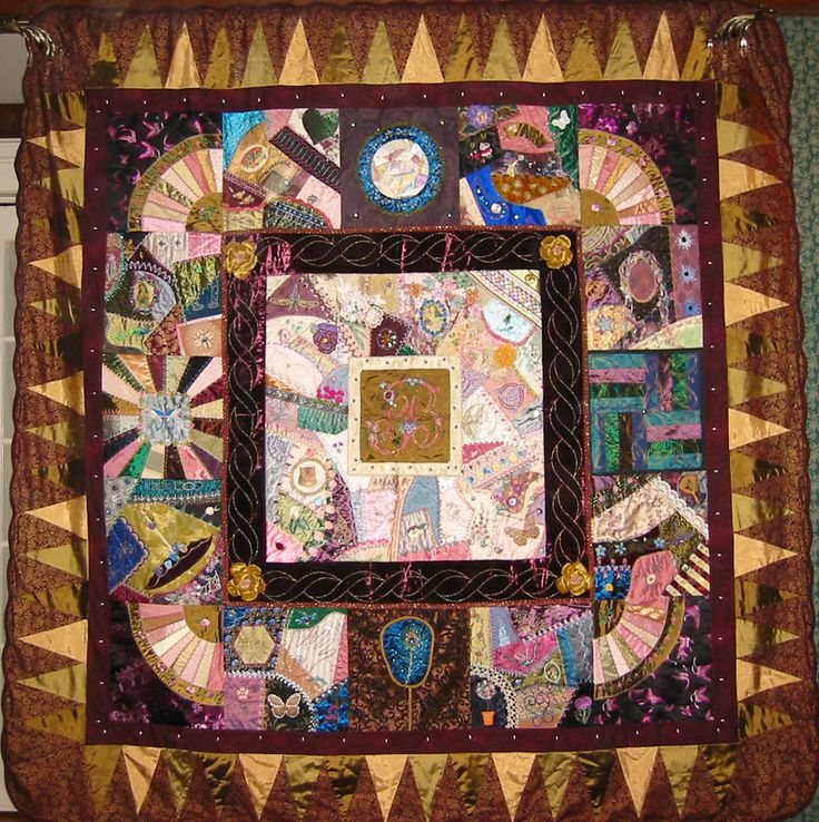 I ❤ crazy quilting, beading & embroidery . A beautiful quilt ~By Betty  Fikes Pillsbury from the northern Catskill Mountains of New York State