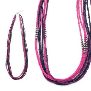 collier sautoir fantaisie en perles rose fuchsia - Sautoir Fantaisie Color