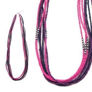 collier sautoir fantaisie en perles rose fuchsia - Sautoir Fantaisie Color
