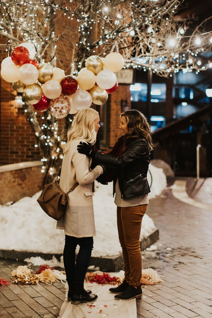 Courtney and Nicole Park City, UT surprise Proposal by Calder Photography. Christmas proposal photos. Christmas proposal. LGBTQ proposal. LGBTQ Couple…