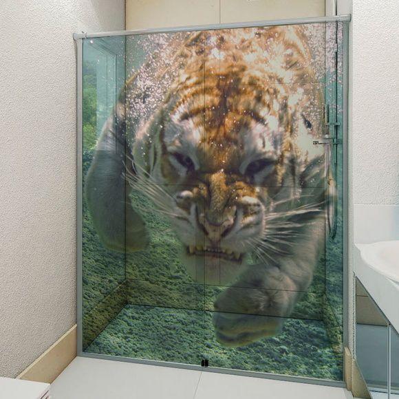 Adesivo Para Box De Banheiro 3d Tigre 193 Gua Adesivo Para