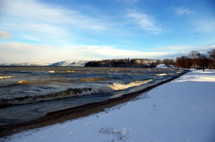Winter am Vätternsee in Jönköping, Schweden