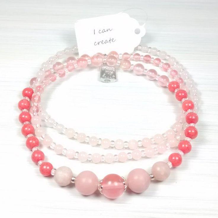 "I Can Create. 108 bead ""mini"" Mala made with Jade, Cherry Quartz, Quartz & Opal. With pretty Open My Heart charm :) by pinksunmalas on Etsy"