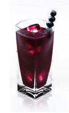 The Blueberry Disaronno is a rich purple drink made from Disaronno, blueberry juice and club soda, and served over ice in a highball glass.
