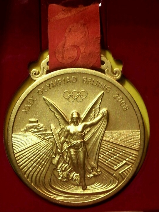 Close-up of Roger Federer's Beijing Olympic Doubles Medal