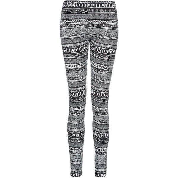 Grey Aztec Jacquard Leggings ($12) ❤ liked on Polyvore featuring pants, leggings, bottoms, jeans, elastic waistband pants, aztec-print leggings, aztec pants, grey leggings and stretch waist pants