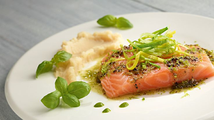 Salmon trout in curlers on a puree of celery
