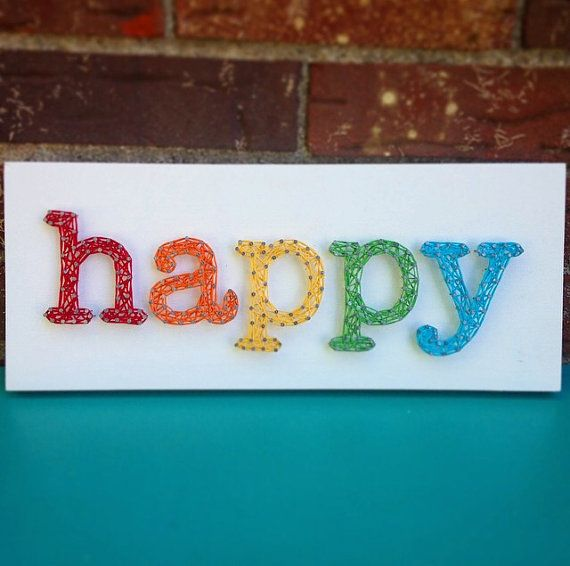 String Art Happy Sign by TheHonakerHomeMaker