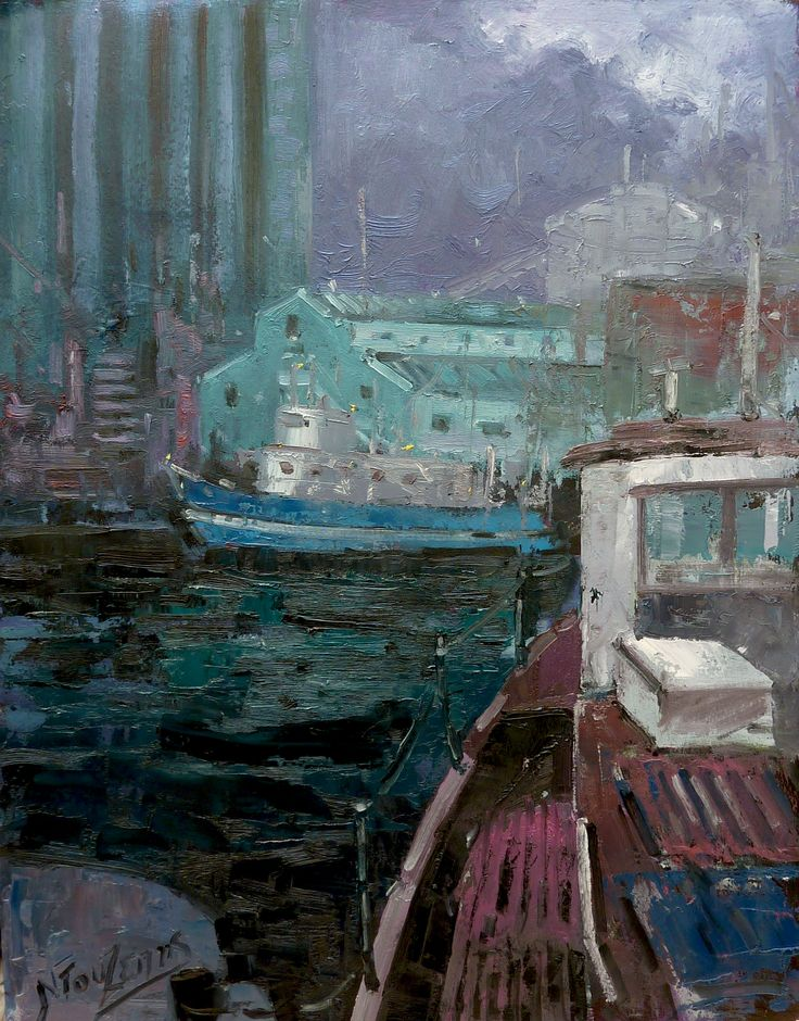 HARBOR NIGHT 50X70cm oil painting by Babis Douzepis