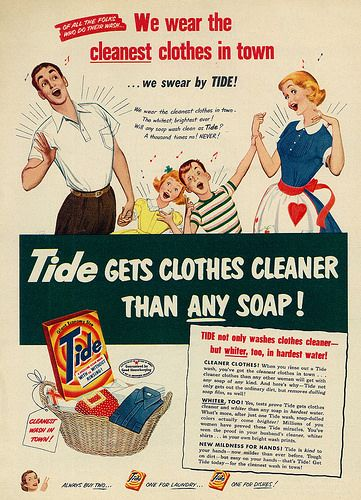 Tide Laundry Detergent ad, 1952. #1950s #family #laundry #ads
