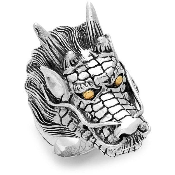 Effy 18K Yellow Gold and Sterling Silver Dragon Ring ($243) ❤ liked on Polyvore featuring men's fashion, men's jewelry, men's rings, mens watches jewelry, mens rings, mens 18k gold rings, mens gold rings and mens yellow gold diamond rings
