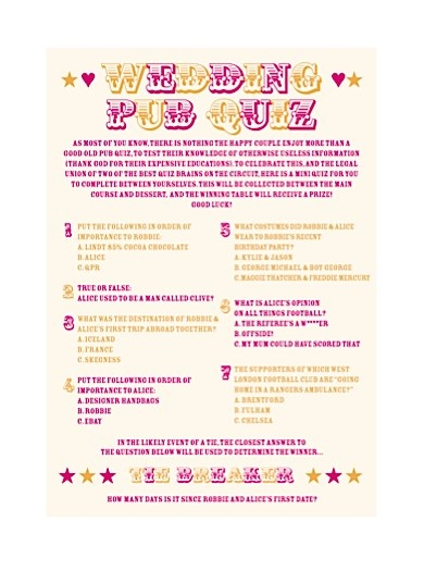 The 155 best wedding images on pinterest boyfriends bridal personalised pub quiz for wedding junglespirit
