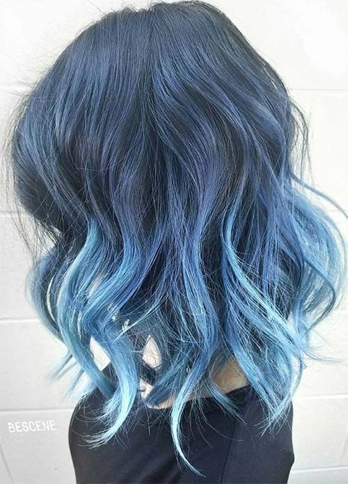 Blueberries for Denim Hair Colors: Messy Arctic Jean Ombre #denimhair #bluehair  Purple Violet Red Cherry Pink Bright Hair Colour Color Coloured Colored Fire Style curls haircut lilac lavender short long mermaid blue green teal orange hippy boho beauty beautiful   Pulp Riot