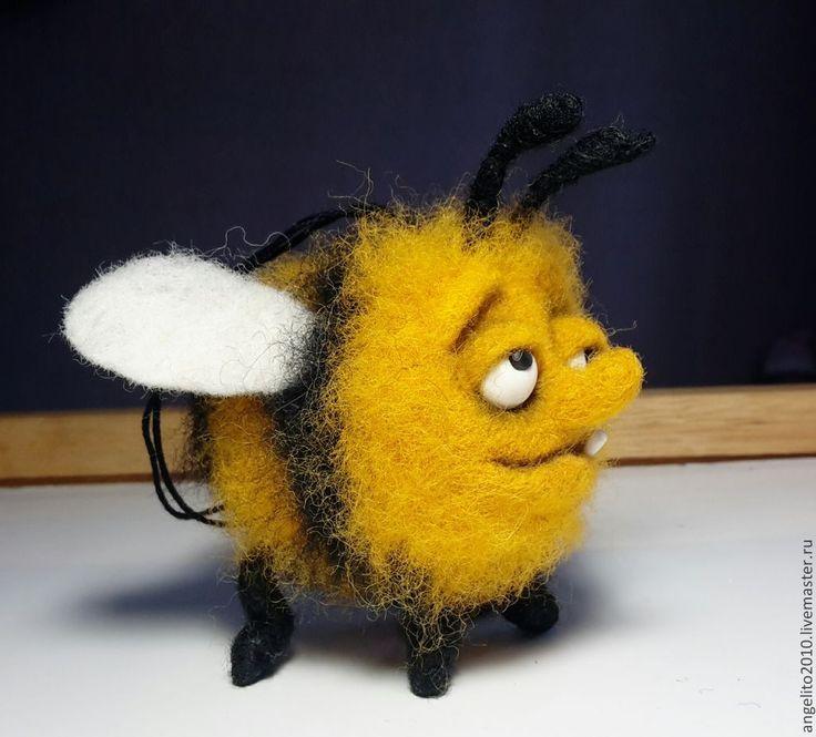 Купить Пьяный пчел. Подвеска в машину - разноцветный, шмель, пчела, шерсть, кардочес, пластика