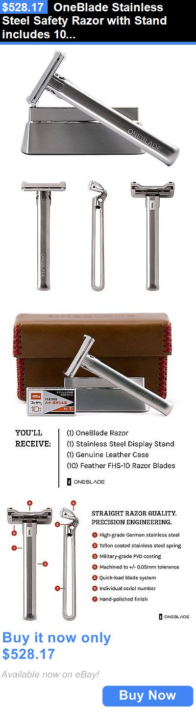 Mens Razors: Oneblade Stainless Steel Safety Razor With Stand Includes 10 Feather Razor BUY IT NOW ONLY: $528.17