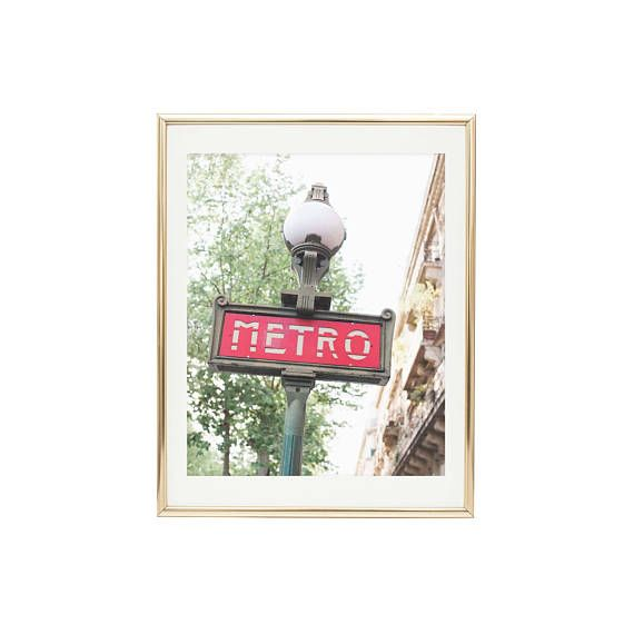 TITLE// Metro  Iconic Metro sign in Paris France. Color fine art image by artist, Julie Harrell: Photographer. PRINT SIZES// 5x7 to 30x40  CANVAS SIZES// 8x10 to 30x40  ORIENTATION// Horizontal or 1:1 ratio.  PRINT DETAILS// Fine Art Prints are produced to the highest archival