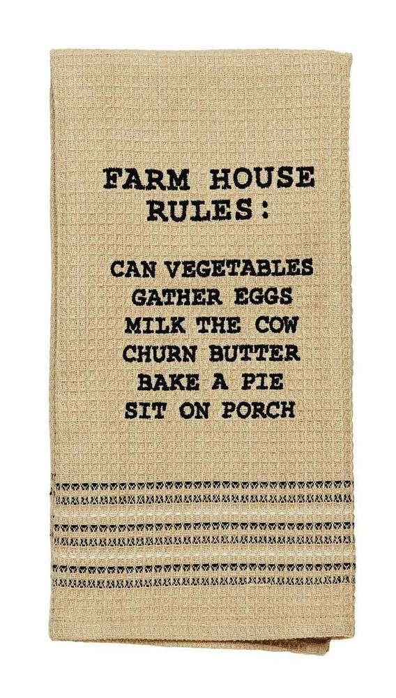 Farmhouse Rules Dishtowels Olivias Heartland IHF Cotton Embroidered Set of 2 #OliviasHeartland #farmhouse