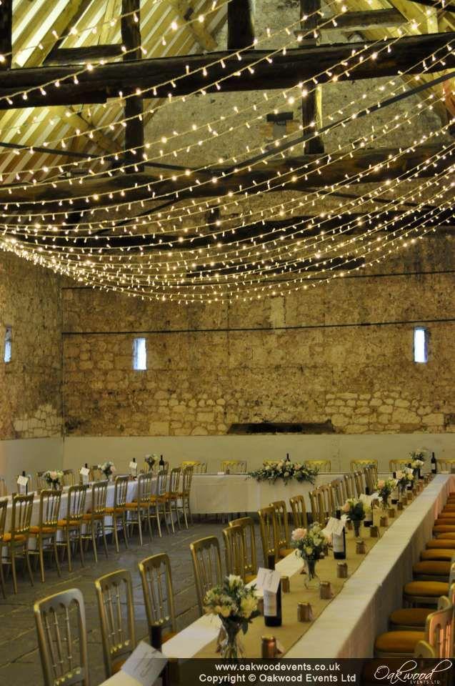Fairy light canopy - sparkling! Monks Barn wedding. Lights by Oakwood Events Ltd.