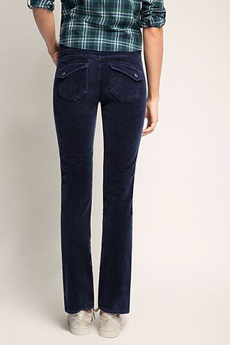 Esprit / Stretchy corduroy broek met twee knopen
