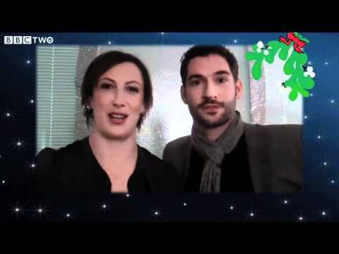Day Two of the Miranda Advent calendar: Miranda Hart & Tom Ellis in Miranda's Christmas Wish, backstage at Strictly Come Dancing, 2011