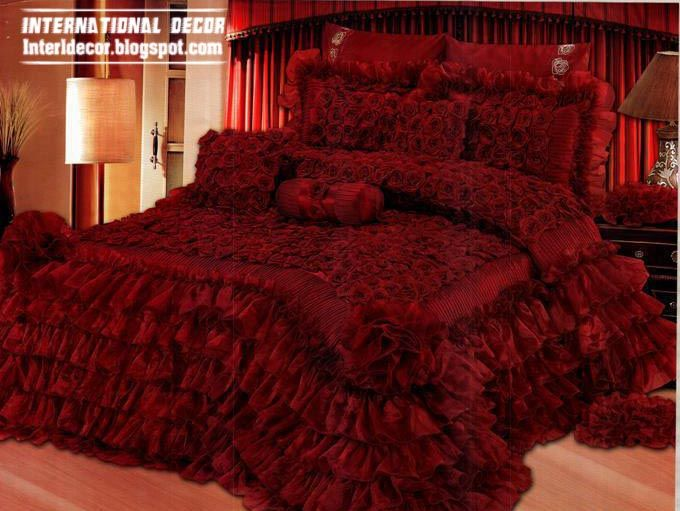 royal design of red bedspread, luxurious red bedspread 2014