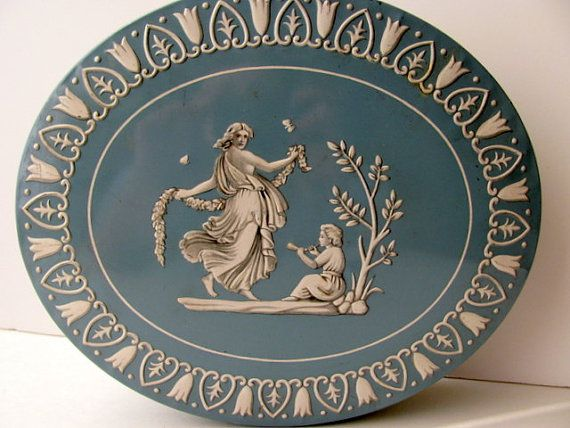 Vintage Cookie Tin Wedgewood Blue by ADoseOfAlchemy on Etsy
