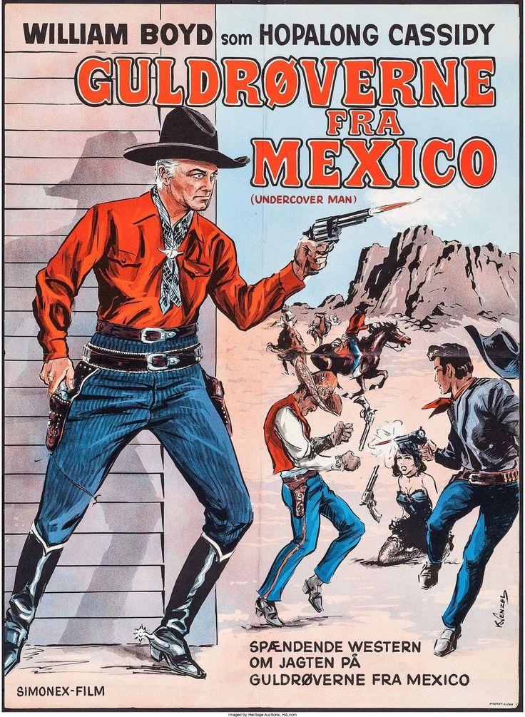 Undercover Man, Hopalong Cassidy, Simonex-film, R-1955, Danish Movie Poster.